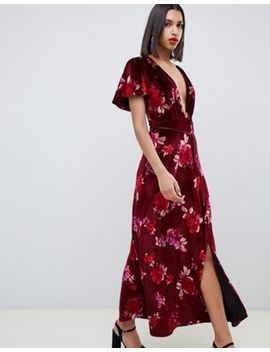 Asos Design Velvet Floral Maxi Dress With Tassel Belt by Asos Design