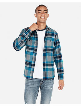 Bright Blue Plaid Flannel Shirt by Express