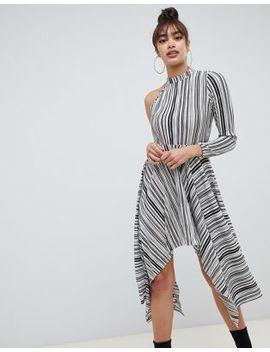 Asos Design Asymmetric One Shoulder Plisse Dress In Mono Stripe by Asos Design