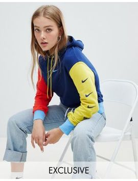 Nike Exclusive To Asos Colourblock Swoosh Pack Cropped Hoodie by Nike