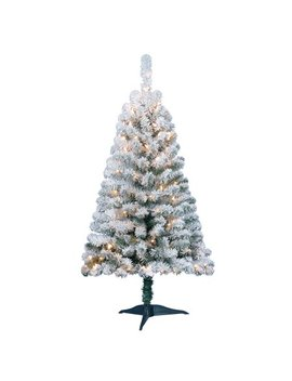 Holiday Time Pre Lit 4' Greenfield Flocked Pine Green Artificial Christmas Tree, Clear Lights by Holiday Time