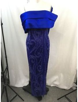 Bob Mackie Vintage Cobalt Blue Beaded Satin Strapless Asymm Bow Gown Size S by Bob Mackie