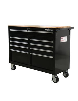 Frontier Reconditioned 46 In. 9 Drawer Mobile Workbench, Tool Chest, Tool Cabinet With Wooden Work Surface In Black by Frontier