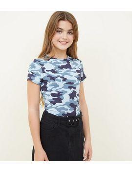Girls Blue Camo Print T Shirt by New Look