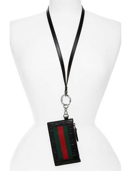 Signature Leather Lanyard Card Case by Gucci