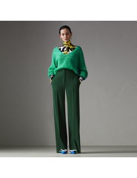 Silk Wool High Waisted Trousers by Burberry