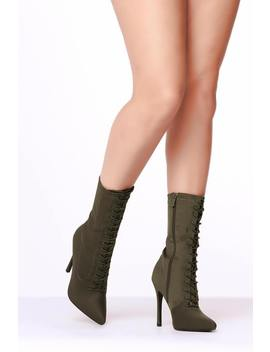 Khaki Lace Up Front Sock Boots by I Saw It First