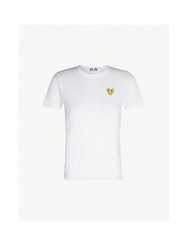 Gold Heart Embroidered Cotton Jersey T Shirt by Comme Des Garcons Play