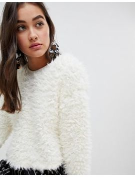 New Look Fluffy Sweater In Cream by New Look