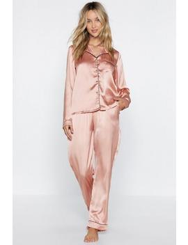 Satin Chilling Out Top And Pants Pajama Set by Nasty Gal