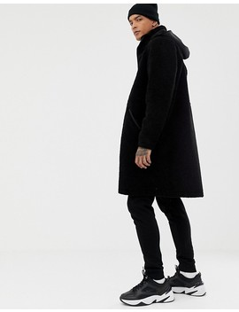 Asos Design Heavyweight Longline Parka In Borg In Black by Asos Design