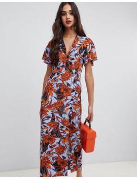Платье миди с запахом и цветочным принтом Miss Selfridge by Asos