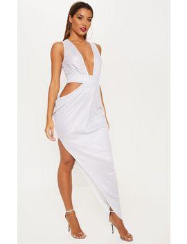 Silver Metallic Knit Asymmetric Cut Out Maxi Dress by Prettylittlething