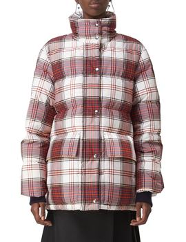 Selsey Check Print Down Coat by Burberry