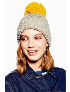 Chevron Beanie With Mustard Pom by Topshop