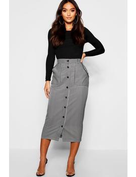 Petite Woven Stripe Button Detail Pencil Skirt by Boohoo