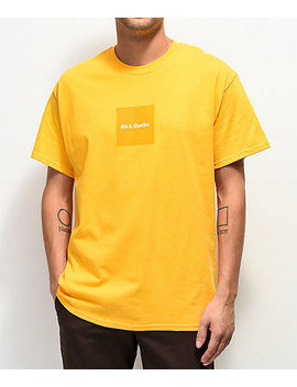40s And Shorties Gold Box Text Logo T Shirt by 40 S And Shorties
