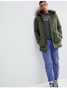 Jack & Jones Core Parka With Faux Fur Hood And Hand Warmer Pockets by Jack & Jones