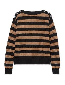 Button Embellished Striped Ribbed Wool And Cashmere Blend Sweater by Max Mara