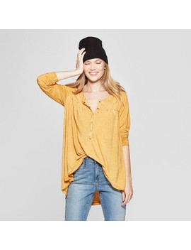 Women's Long Sleeve Henley   Knox Rose™ Honey Yellow by Knox Rose