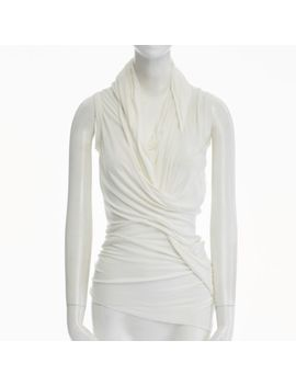 Rick Owens Lillies Cream White Viscose Cotton Twisted Drape Tank Top Us6 M by Rick Owens Lillies