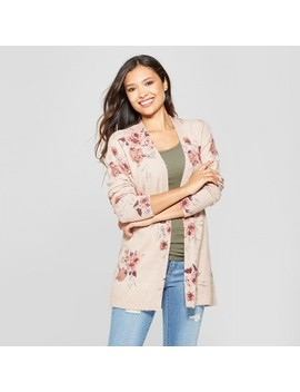 Women's Floral Print Long Sleeve Open Layering Sweater   Knox Rose™ Pink by Knox Rose