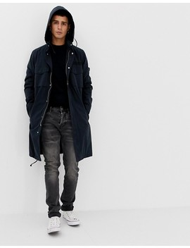 Asos Design Longline Parka Jacket With Hood In Navy by Asos Design