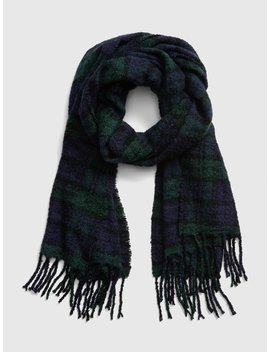 Plaid Boucle Fringe Scarf by Gap