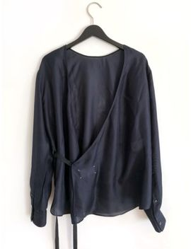 Martin Margiela Iconic Cord Strap Shirt 0 White Label Silk Dark Blue Bluse by Ebay Seller