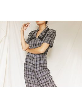 Vintage Plaid Button Down Maxi Dress by Etsy