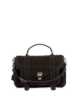 Ps1 Medium Suede Satchel Bag, Black by Proenza Schouler