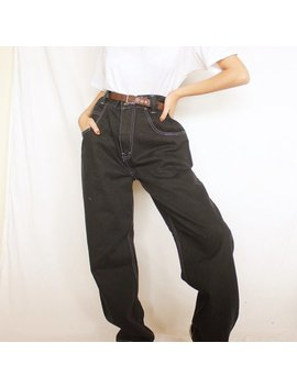"Rare Vintage Black Contrast Stitch Wide Leg Jeans 30"" Waist by Etsy"