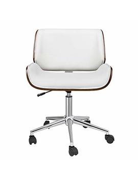 Porthos Home Kch019 A Wht Dove Office Chairs In Mid Century Modern Design Leather Upholstery, Wooden Accents, Stainless Steel Legs, Roller Wheels & Adjustable Height, White by Porthos Home