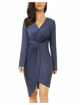 Mixfeer Womens V Neck Bodycon Midi Dress Long Sleeve Draped Knotted Dress Wrap Party Dress Twist Front Invisible Button by Mixfeer