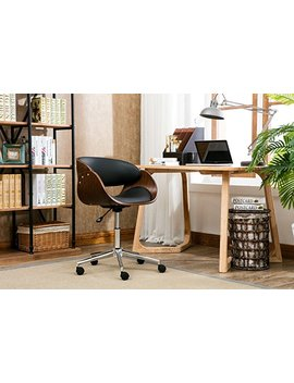 Premium Home Office Chair Modern Designer Executive Office Chairs With Thick Padding For Optimum Comfort, Height Adjustable Easy Clean Walnut Veneer/Pu Leather 21x23x33 Inches by Porthos Home