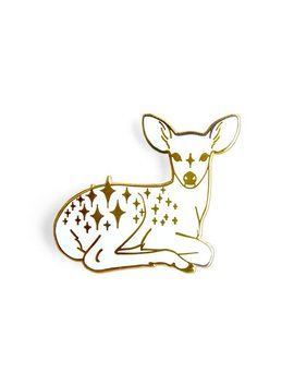 Star Fawn Enamel Lapel Pin In White And Gold by Etsy