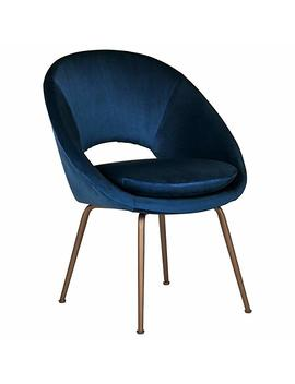 "Rivet Modern Upholstered Orb Office Chair, 20""H, Blue/Antique Bronze by Rivet"