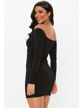 Black Off Shoulder Wrap Bodycon Dress by Missguided