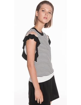 Stripe Ruffle Knit by Cue