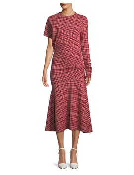 Long Sleeve Asymmetric Plaid Midi Dress W/ Flounce Hem by Calvin Klein 205 W39 Nyc