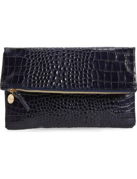 Croc Embossed Leather Foldover Clutch by Clare V.