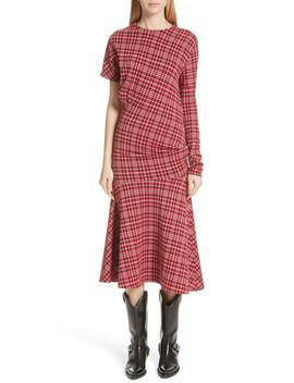 Tartan Asymmetrical Dress by Calvin Klein 205 W39 Nyc
