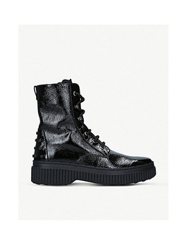 Crinkled Patent Leather Combat Boots by Tods