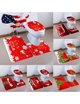 3 Pcs/Set Christmas Bathroom Non Slip Pedestal Rug+Lid Toilet Cover+Bath Mat Lus by Unbranded
