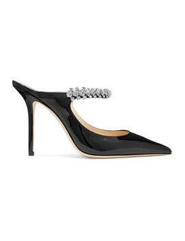 Bing 100 Crystal Embellished Patent Leather Mules by Jimmy Choo