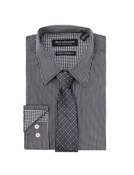 Men's Nick Graham Everywhere Modern Fit Stretch Dress Shirt & Tie Set by Kohl's