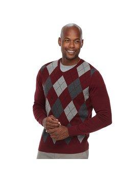 Men's Croft & Barrow® Classic Fit Argyle Fine Gauge V Neck Sweater by Croft & Barrow