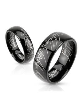 Laser Etched 6mm Or 8mm Stainless Steel Black Ip Band Ring by Generic