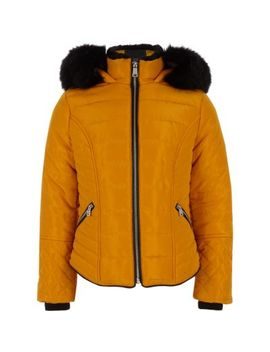 Girls Yellow Faux Fur Trim Padded Coat by River Island