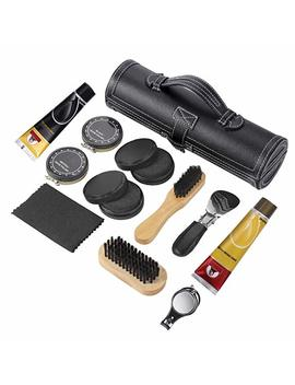 Sethjcsy Shoe Care Kit,12 Piece Travel Shoe Shine Brush Kit by Sethjcsy